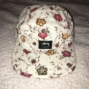 White Stüssy Hat With Flowers